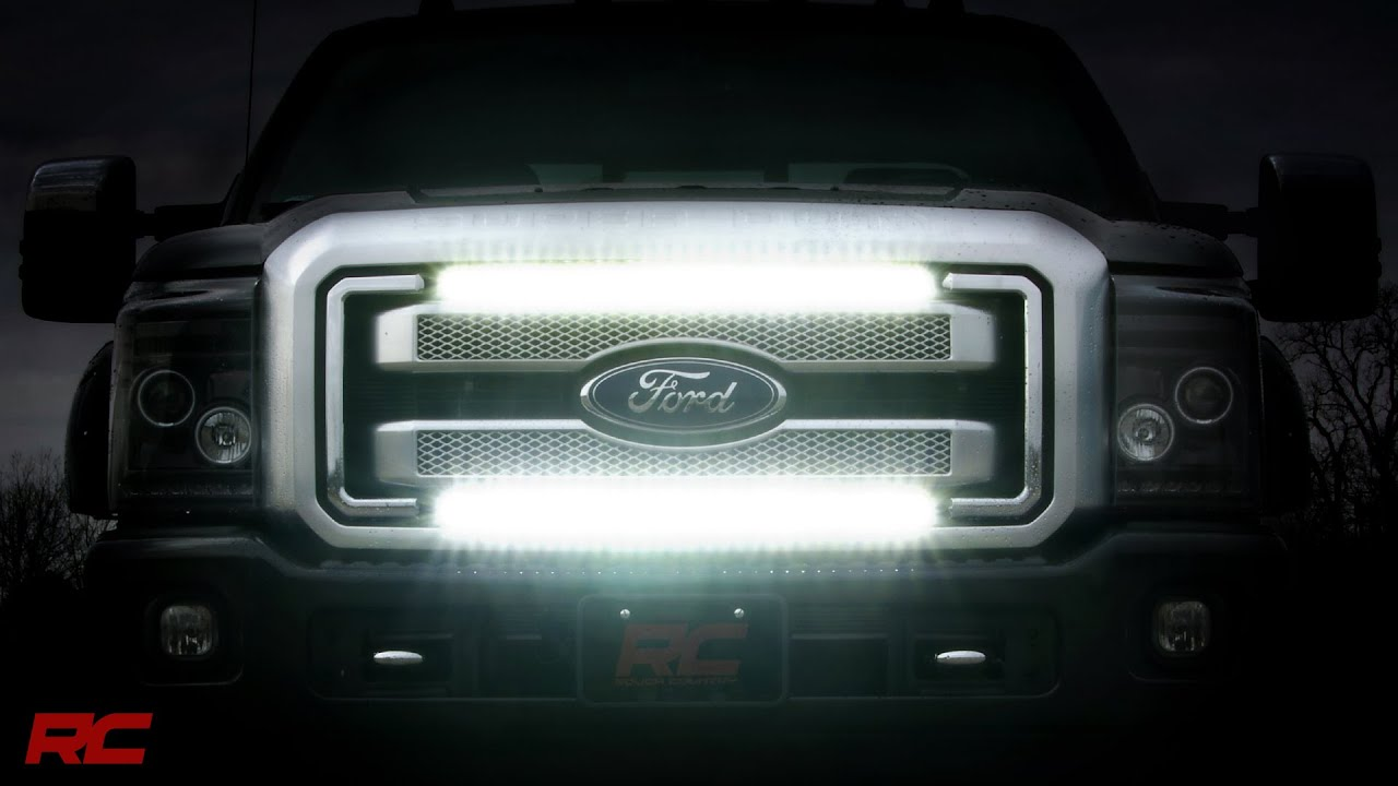 2011 2016 ford super duty grille mount light bar kit by rough country youtube