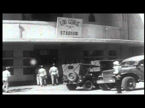 US Army soldiers watch a baseball game in Yokohama Park Stadium, renamed Lou Gehr...HD Stock Footage