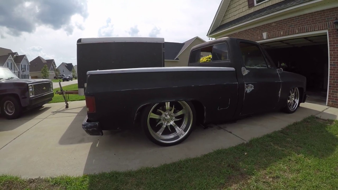 hight resolution of bagged 1987 c10 truck in action 22inch bonspeed tsunami wheels