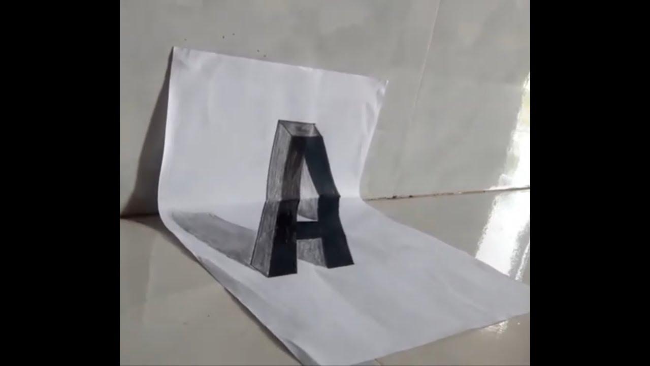 Cách vẽ chữ 'A' ảo ảnh 3D trên giấy đơn giản ai cũng có thể làm.