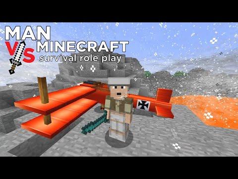 Crashed Warplane on Volcano's Rim | Man vs Minecraft - Part 7 | Minecraft Survival Role-play