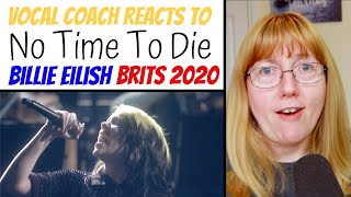 Gambar cover Vocal Coach Reacts to Billie Eilish 'No Time To Die' The Brits 2020