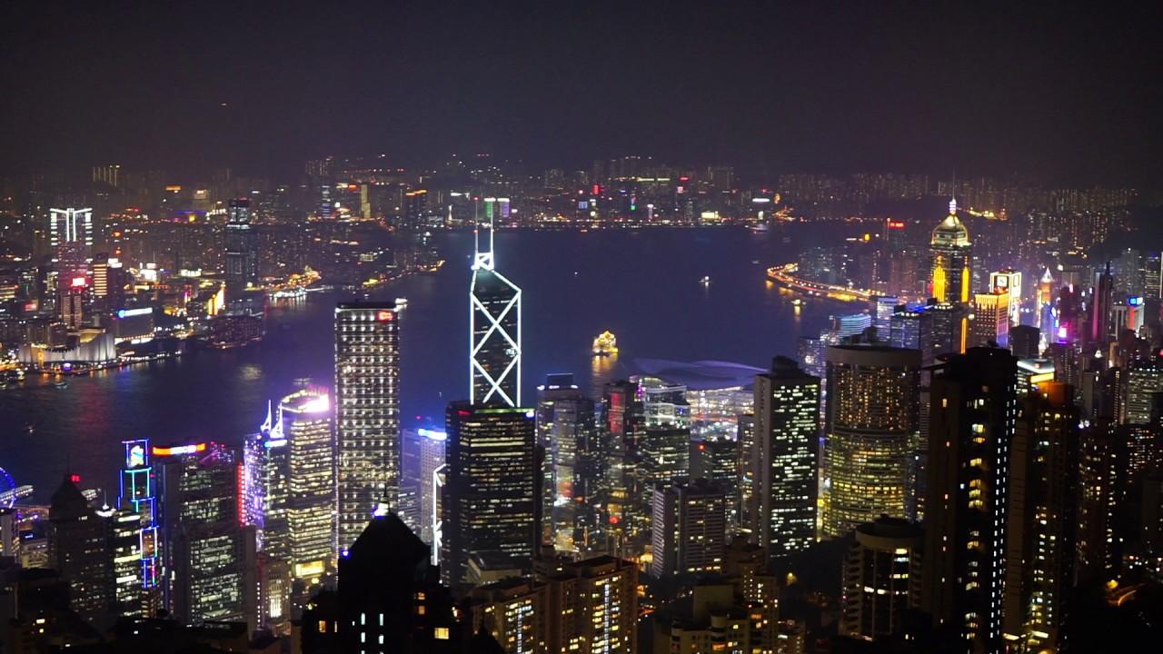 Hong Kong View From Victoria Peak Night