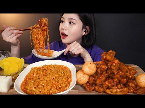 SUB[광고]60계 치킨 더매운고추치킨 순살 까르보 불닭볶음면 먹방 ! 치즈볼까지 리얼사운드 Carbo-Spicy Chicken Noodles chicken mukbang ASMR