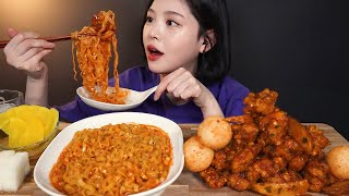 ENG SUB)Spicy Boneless Chicken With Smooth Carbo Spicy Chicken Noodles Mukbang ASMR Korea Real Sound