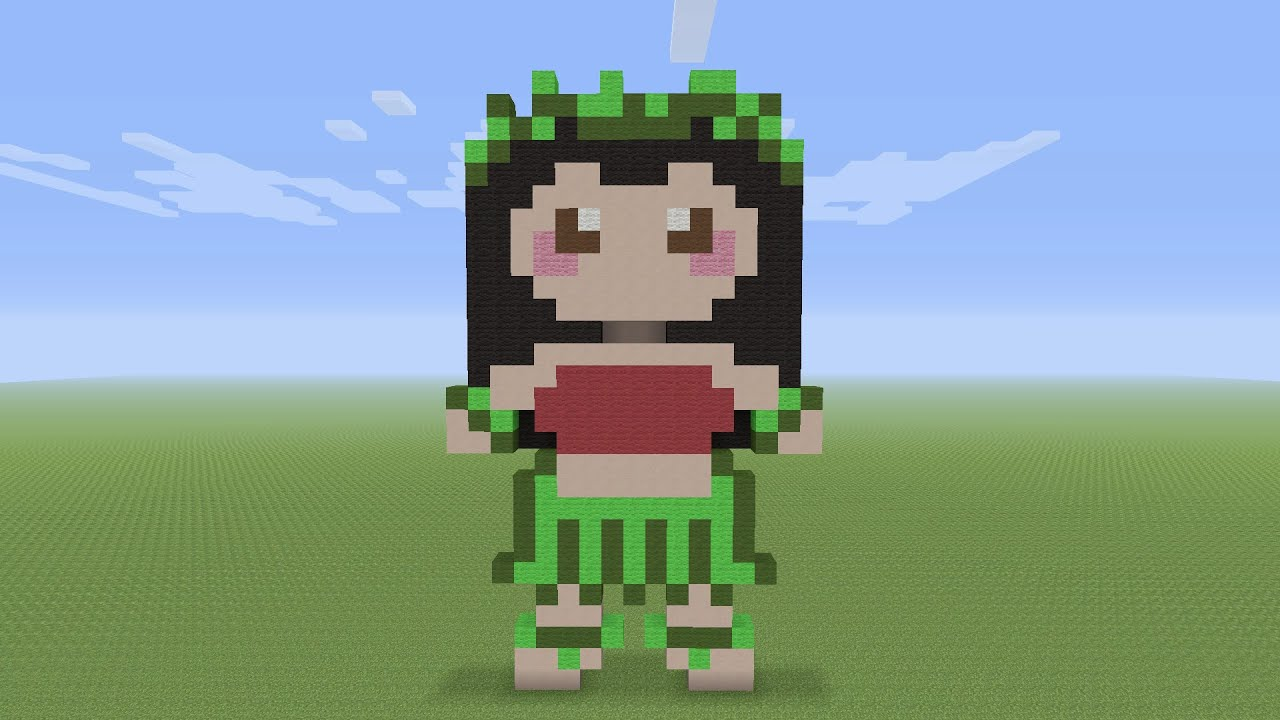Minecraft Pixel Art Lilo Hula Outfit From Lilo Stitch Youtube