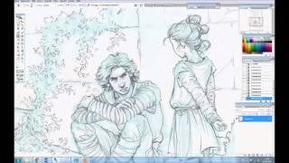 My workflow: Sketching, printing, drawing, scanning, painting
