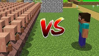 Minecraft Battle: NOOB vs PRO: HEROBRINE VS 10000 VILLAGERS IN VILLAGE CHALLENGE / Animation
