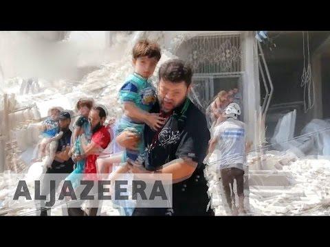 Syria: Barrel bombs kill dozens at Aleppo funeral