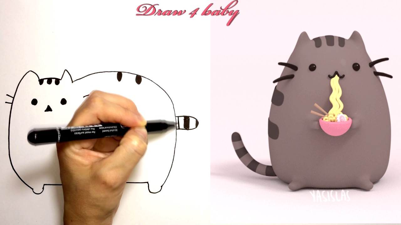 how to draw the pusheen cat step by step easy cute cartoon cat youtube