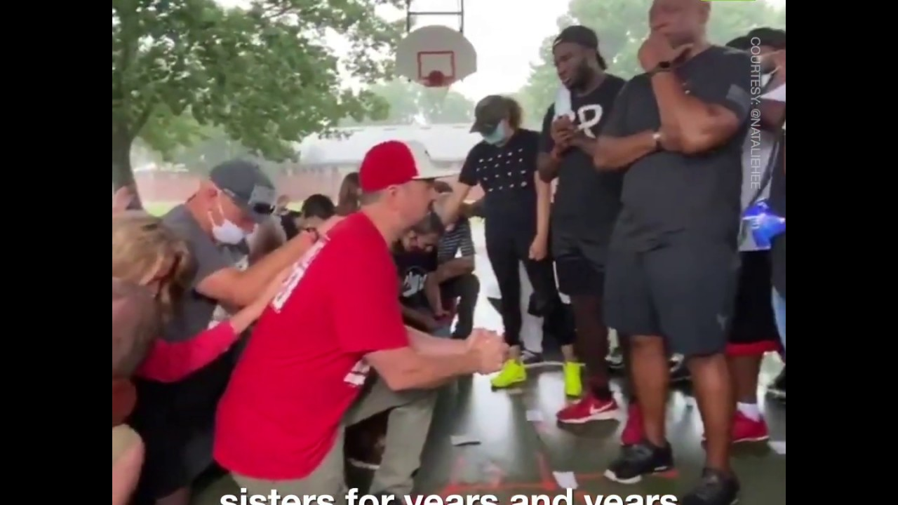 White people beg for forgiveness from their black neighbors in Floyd's hometown