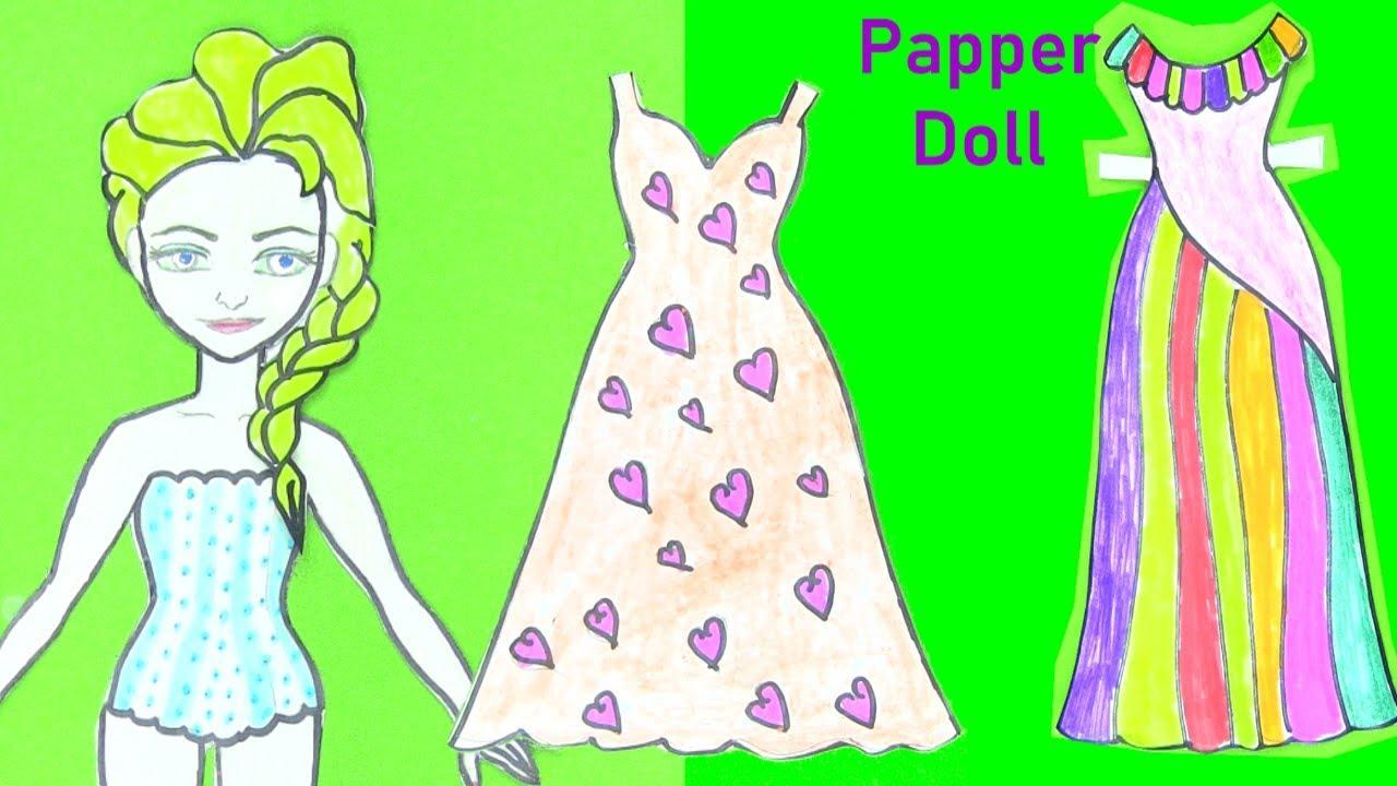 Búp Bê Giấy Elsa - Thiết Kế Váy Dạ Hội Cho Búp Bê Công Chúa Elsa - đồ chơi trẻ