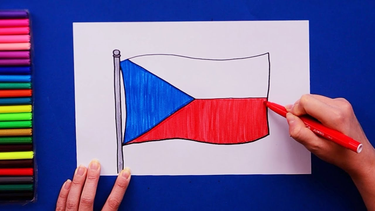How To Draw And Color The Flag Of Czech Republic Youtube