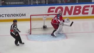Ilya Sorokin № 90 in action during the CSKA@Amur hockey game