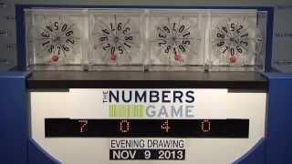 Evening Numbers Game Drawing: Saturday, November 9, 2013
