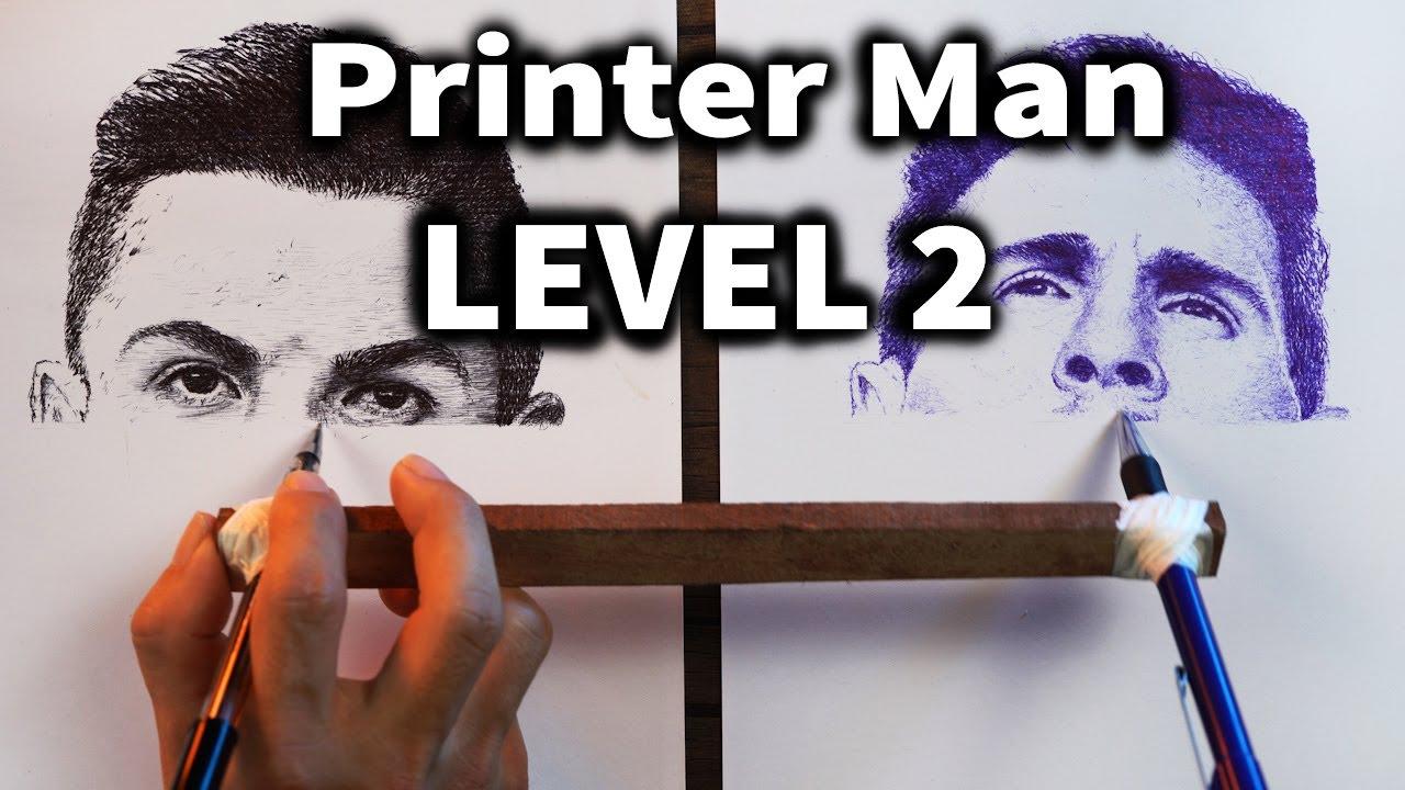 Draw Like A Printer LEVEL 2 - Drawing Ronaldo vs Messi