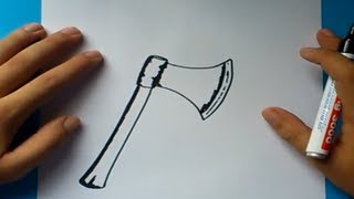 Como dibujar un hacha paso a paso | How to draw an ax