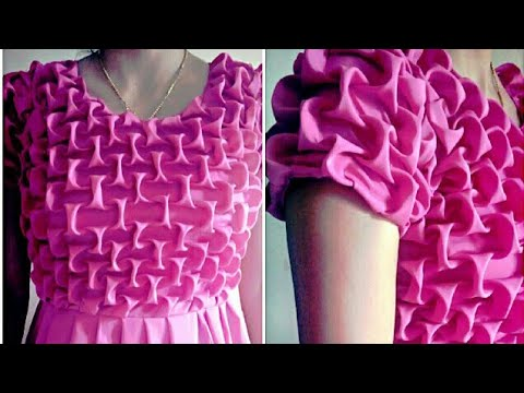 How to make designer frock {ladies} with Smocking Method