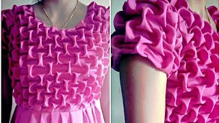 Smocking design frock {ladies} cutting stitching Latest best making day cat may blusa