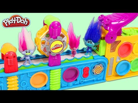 TROLLS Movie Characters Visit Play Doh Mega Fun Factory Playset and Get Surprise Toys!
