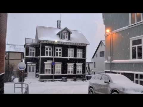 Reykjavik in snow.