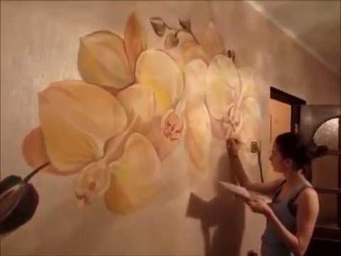 Цветы на стене нарисовать