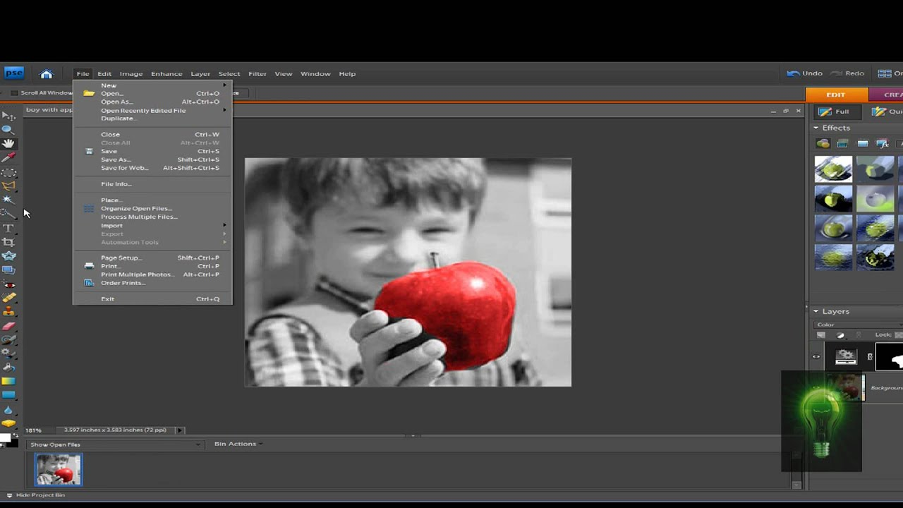 Tutorial Black WhiteColor Effect in Adobe Photoshop Elements