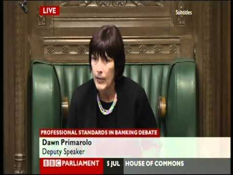 Deputy Speaker Dawn Primarolo dealing with shouting and screaming