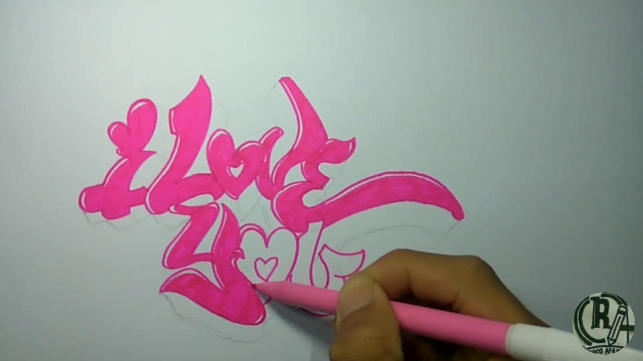 Tutorial menggambar grafiti i love you mudah dan keren