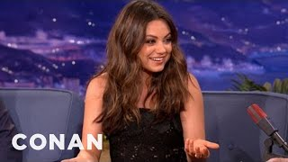 mila kunis is a gay man trapped in a woman s body conan on tbs