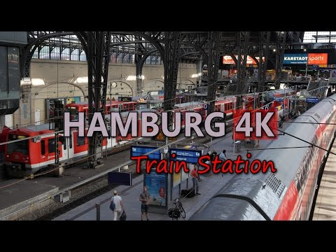 Ultra HD 4K Hamburg Travel Main Train Station Tourism Trains Vehicles Transport Video Stock Footage