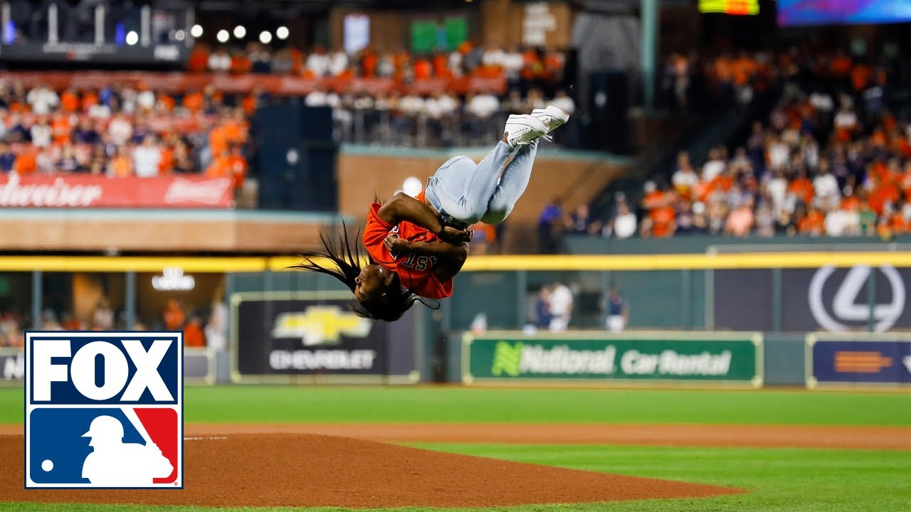 Download Simone Biles hits epic backflip with a twist before first pitch at the World Series | FOX MLB