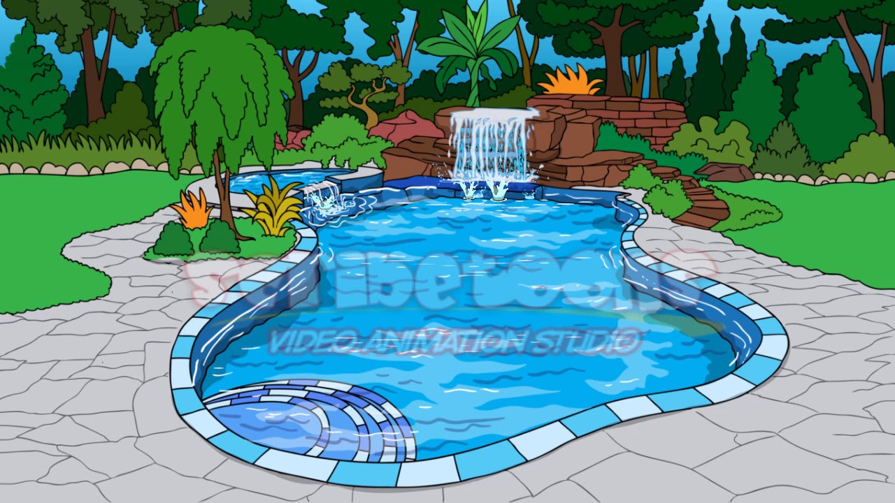 swimming pool with waterfall animated background youtube