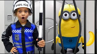 Sofia as Cop and plays Police Jail Playhouse Toy