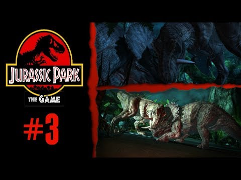 The First Triceratops vs Tyrannosaur Scene in JP History - Jurassic Park: The Game - Part 3