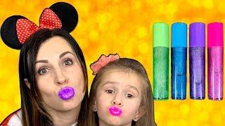 COLOR LIPS How to make lip gloses Educational video for kids\ Beauty Salon with JoyJoy Lika