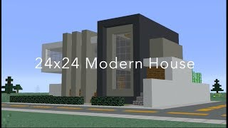 MINECRAFT 24X24 ULTRA MODERN HOME: PART 1 (EASY TO BUILD)