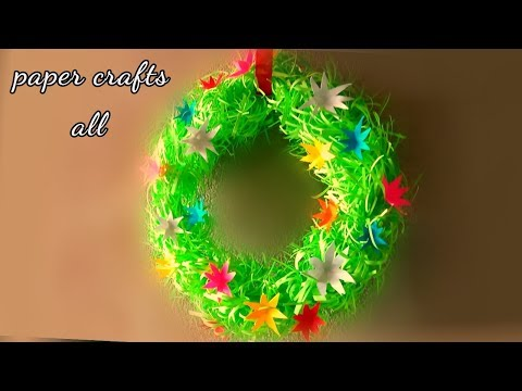 how to make paper wreath // wall hanging paper craft werath / paper wreath diy
