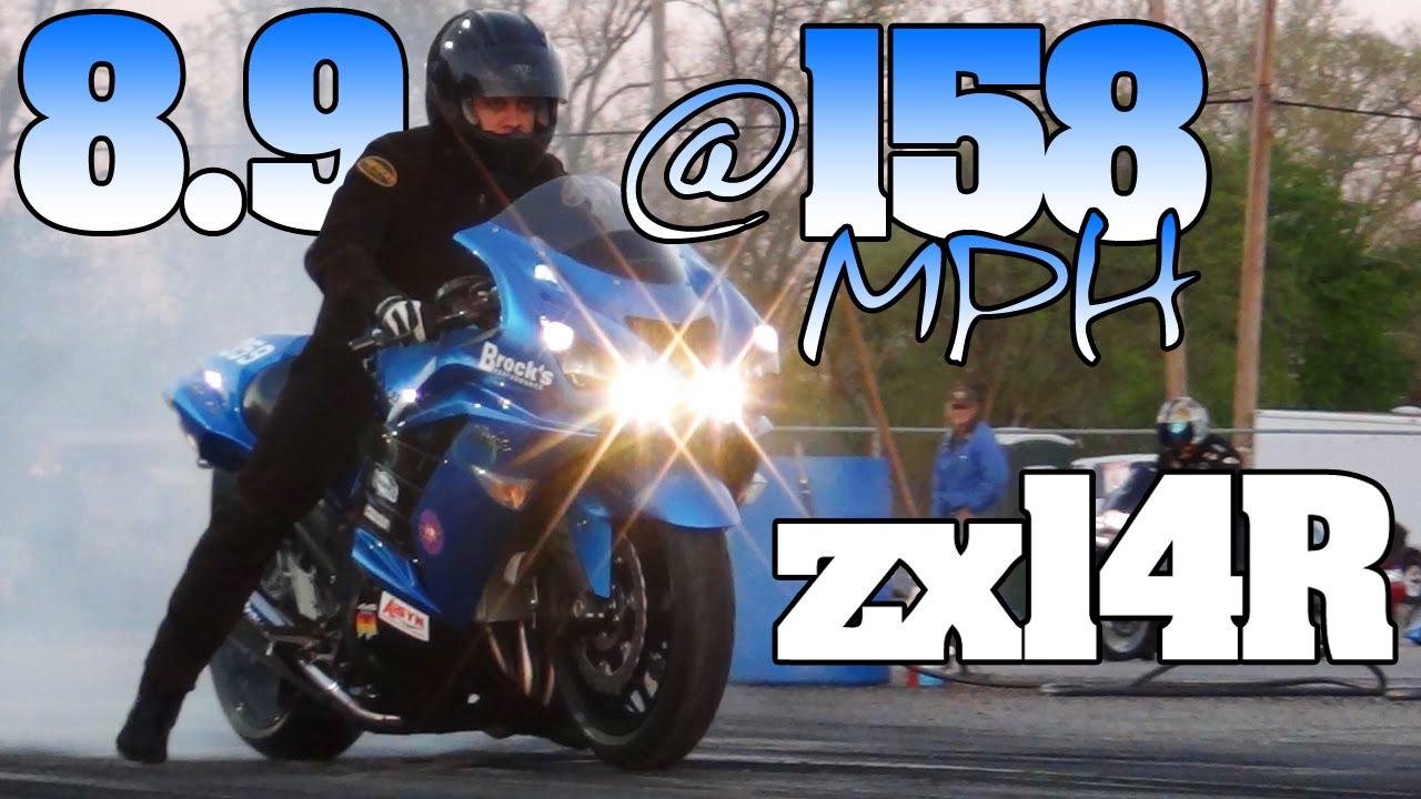 8 9@158mph Kawasaki zx14r Ninja motorcycle drag racing 2012