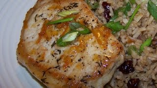 Apricot Citrus Pork Chops With A Cranberry Walnut Rice Pilaf