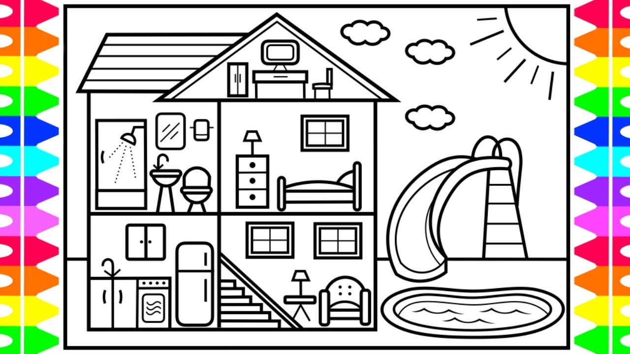 How to Draw a Fun House with a Pool for Kids 💜💚💙💛Fun House ...