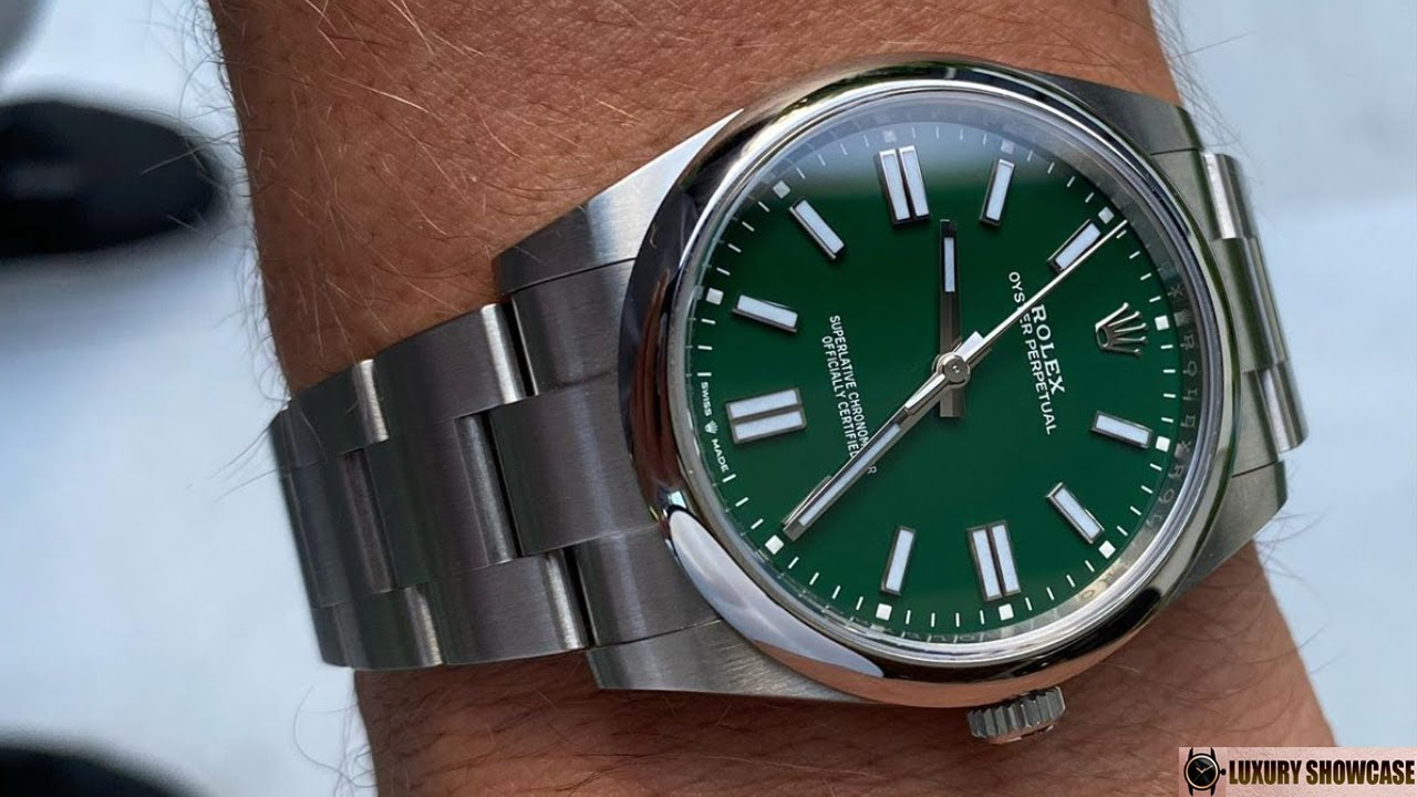 New 2020 Rolex Oyster Perpetual 124300 Green 41 mm Oystersteel | Wrist shot by watchtradingco