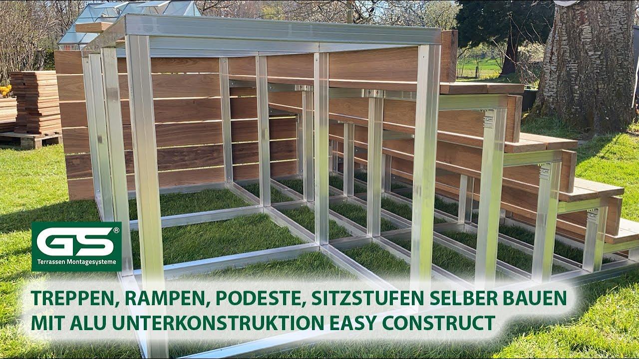 Treppen, Rampen, Podeste, Sitzstufen selber bauen mit Alu Unterkonstruktion