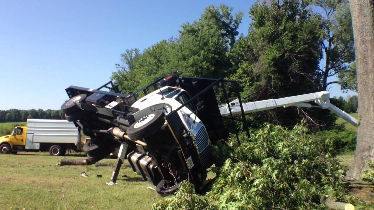 Bucket Truck Overturns, Operator LifeFlighted on