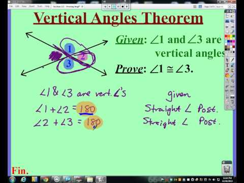 Chapter F - Video #3 (Section 2.5 - Why Vertical Angles are Congruent)