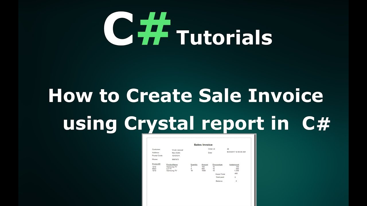 How to create Sales Invoice/Receipt using Crystal Report in C# Windows  application