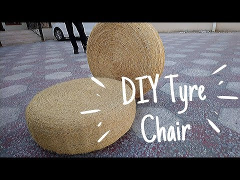 DIY Tyre Chair Making At Home |Tyre Rope Ottoman | Recycle Waste Car Tyre Into Seat | DIY Room Decor