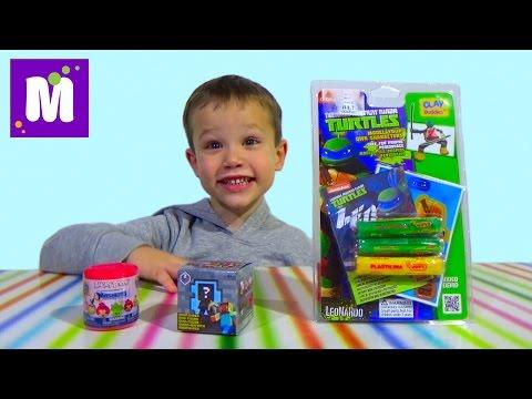 Майнкрафт сюрприз игрушка Черепашки Ниндзя лепим из супер теста машемс Энгри Бердс TMNT clay buddies