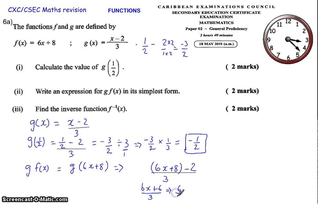 RELATIONS AND FUNCTIONS (CXC CSEC MATHS MATHS PAST PAPER QUESTION ...