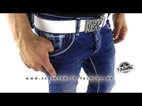 Rusty Neal Herren Jeans Regular Fit mit weißen Nähten und Knöpfen blau